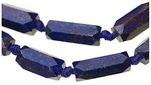 - uGems Lapis Lazuli 6-Sided Long Graduated Beads Knotted Necklace 20 Inch with Clasp