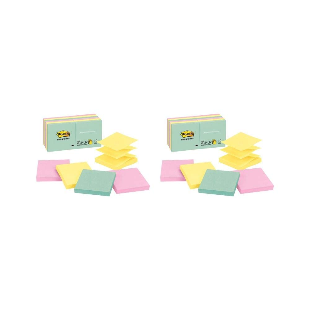 Pop-up Notes, Marseille Colors, America's #1 Favorite Sticky Note, Accordion-Style Sticky Notes for Dispensers, 3 in. x 3 in, 12 Pads/Pack, 100 Sheets/Pad (R330-12AP) (2 Pack of 12 Pads)