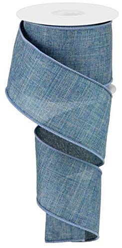 Solid Canvas Wired Edge Ribbon, 10 Yards (Faded Denim Blue, 2.5