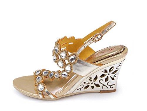 Gold Del 33 38 Poe Buckle Belt Las Golden Xie Señoras 8cm Heel wedge Sandalias Rhinestones Party Banquet Verano Heels Hollow Cristal Diamante Goldwedgeheel De qfAfXUwx1