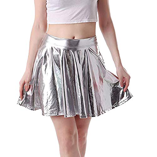 ShenPr Women's Casual Fashion Flared Pleated A-Line Circle Skater Skirt Punk Leather for $<!--$9.29-->