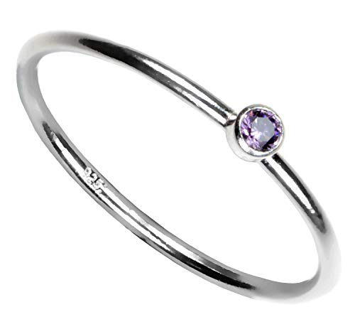 Light Amethyst Cubic Zirconia Ring - Sterling Silver Light-Amethyst-Color Cubic Zirconia Stacking Ring Size 7