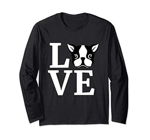 Boston Terrier Long Sleeve Shirt I Love My Bostie Dog Gift