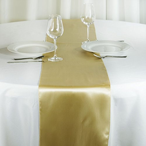 Tabletop Champagne - BalsaCircle 10 pcs 12 x 108-Inch Champagne Satin Table Top Runners - Wedding Party Event Reception Occasions Linens Decorations