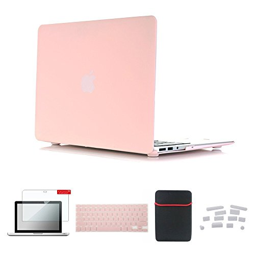 Se7enline Macbook Air Accessories Bundle Case Soft Touch Plastic Hard Shell Cover for Macbook Air 11 inch Model A1370, A1465 with Sleeve Bag, Keyboard Cover, Screen Protector, Dust plug, Rose Quartz