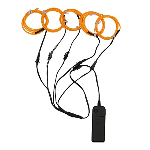 5x3.3ft(1M) Neon Light El Wire w/ Battery Pack for Parties Halloween Christmas Decoration (Yellow)