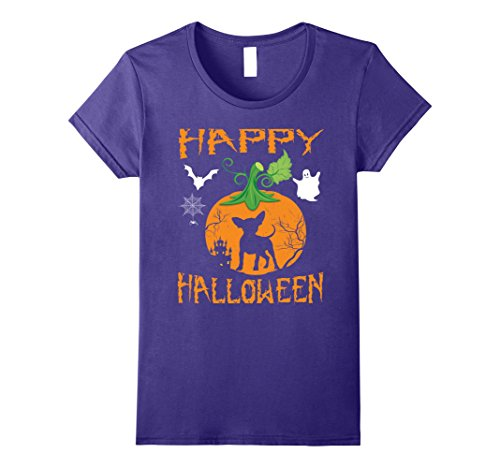 Chiweenie Halloween Costumes (Womens CHIWEENIE Dog In Pumpkin Happy Halloween T-Shirt Gift Medium Purple)