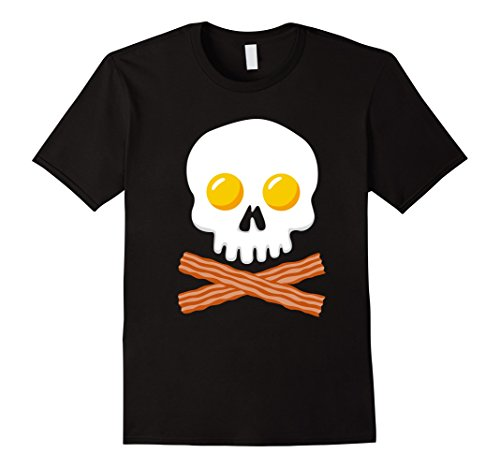 Bacon And Egg Costume Accessories (Mens Breakfast Skull Shirt Egg and Bacon Skull Crossbones Tshirt XL Black)