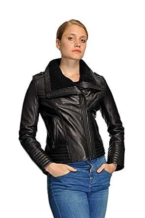 Michael Kors Women's PLUS Knit Collar Leather Jacket at