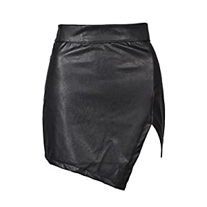 Choies Women's Black Cut Out Mid Waist Asymmetric Hem PU Mini Skirt