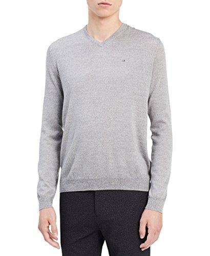 Best Calvin Klein Men's Merino Solid V-Neck Sweater, Schio Grey,