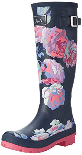 Joules Womens Welly Print Rain Boot Blue (French Navy Beau Bloom) 2Vu7duY