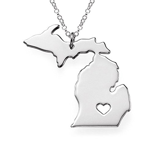 SIYWINA Stainless Steel Michigan(MI) Map Charm Pendant Necklaces with a Heart