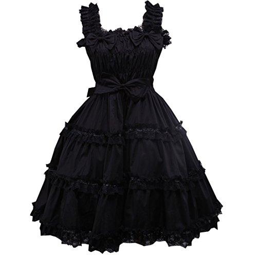 Suess Lolita Partiss Schwarz Frauen Kleid Aermelloses Damen Kleid Lace Kleid 60qE0w