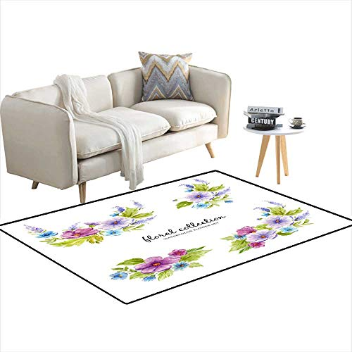 Extra Large Area Rug Watercolor Floral Collection wi Flower Arrangements of Flowers Leaves Branches anflower Buds - Floral Catalina Rug