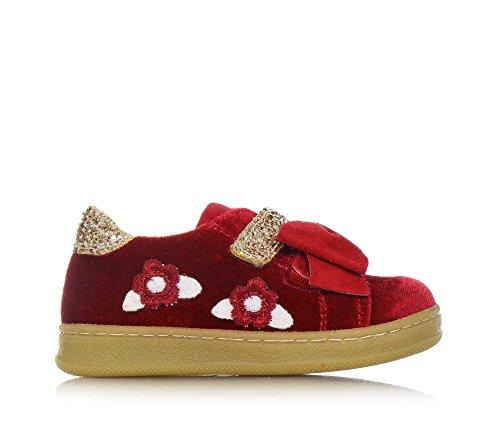 MONNALISA - Roter Schuh aus Samt, made in Italy, romantisch und spaßig, mit Klettverschluss, Mädchen