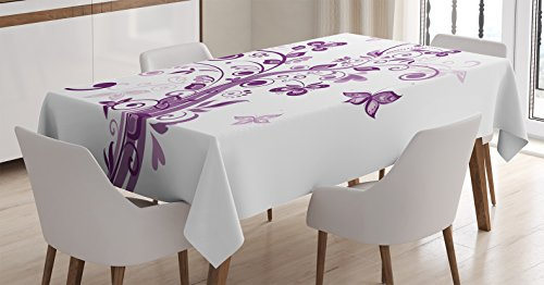 (Ambesonne Mauve Decor Tablecloth, Tree with Swirled Branches and Flowers Leaf Butterfly Bridal Inspirations Theme, Dining Room Kitchen Rectangular Table Cover, 60 W X 84 L inches, Purple White)