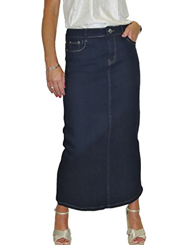 Ice Maxi Long Jeans Skirt Stretch Denim Soft Wash Indigo Blue 8-18 (Next Denim Skirt)
