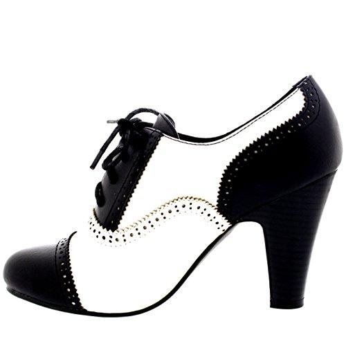 Mary Mediados Zapatos Talón Trabajo Mujer Anochecer Negro Blanco Botín Bloque Jane AXXaB