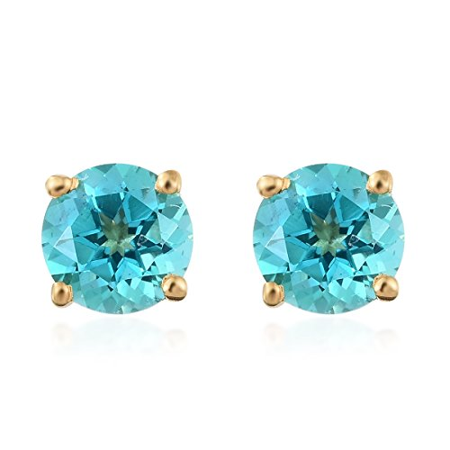 925 Sterling Silver Vermeil Yellow Gold Plated Round Topaz Stud Earring Solitaire Vermeil Earrings