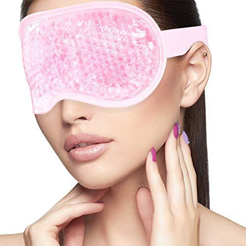 Sleeping Weighted Eye Mask for Woman Man Reusable Gel Beads Ice Pack with Soft Plush Backing Hot Cold Therapy Eye Pillow…