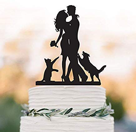 - Cheyan Wedding Cake Topper With Dog And Cat, Dog Jumping Groom Silhouette Bride And Groom Unique Wedding Cake Topper With Maltese Dog And Cat
