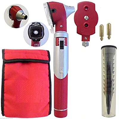 CyNaMeD Otoscope Set - Ear Scope with Light, Ear Infection Detector,with 10 Otoscope Tips + 2 Free Bulbs-Premium Quality-Red