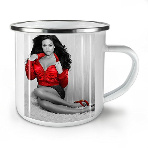 Model Nude Hot Photo Sexual White Enamel Mug 10 oz | Wellcoda