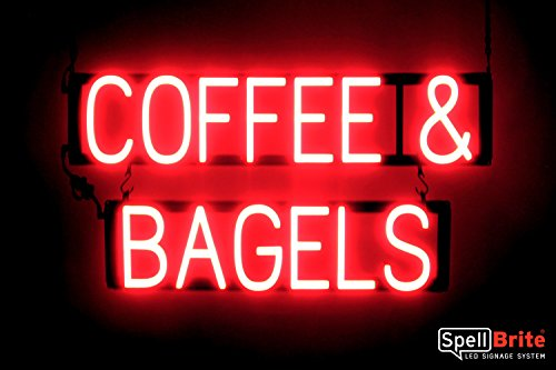 SpellBrite Ultra-Bright COFFEE & BAGELS Sign Neon-LED Sign (Neon look, LED (Bagels Led Sign)