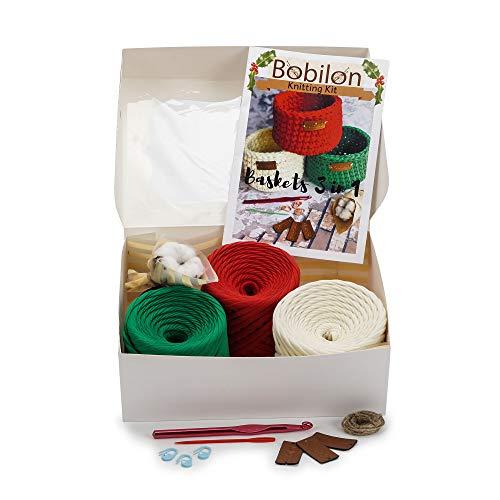 T-Shirt Yarn Fettuccini Zpagetti Set - 3 Balls Total of 165 Yards - Tshirt Yarn Kit for Crocheting - Ribbon Yarn 100% Cotton - Knitting Yarn Ball - T Yarn Organic - Macrame T-Yarn Red Green Vanilla