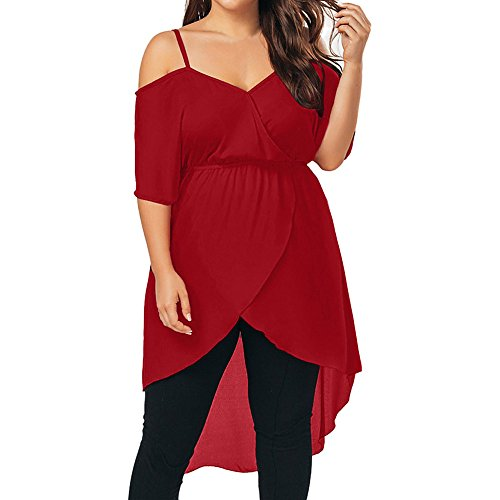 KESEELY Women Plus Size Lace Dress - Solid Sexy Fit Flare Summer Loose Off Shoulder Asymmetrical Dress Red