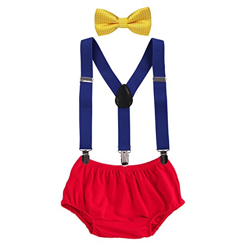 Baby Boys Adjustable Y Back Clip Suspenders Outfit First Birthday Bloomers Bowtie set Yellow + Blue + Red
