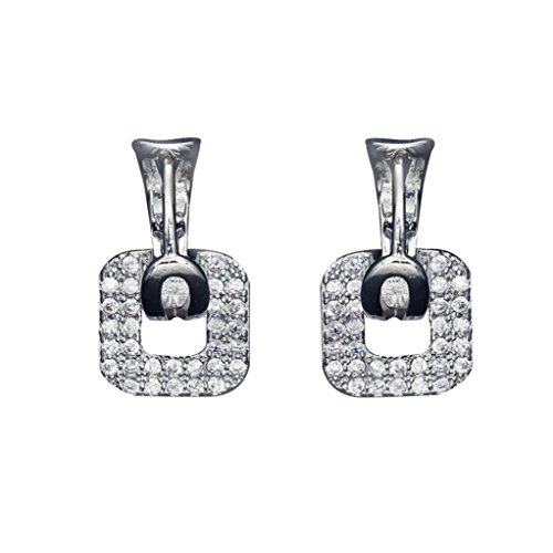 - Paymenow Clearance Women Square Rhinestone Diamond Hollow Out Square Earring Eardrop Charm Ear Clip Jewellery (Silver)