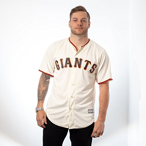 Majestic San Francisco Giants Cool Base Off White Tackle Twill Baseball Jersey (Large)