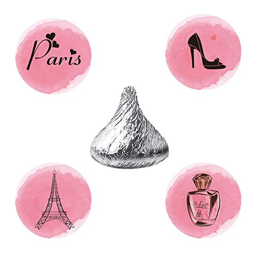 - MAGJUCHE Paris Candy Stickers, Eiffel Tower Girl Pink Baby Shower Birthday Party Favor Labels, Fit Hershey's Kisses, 304 Count