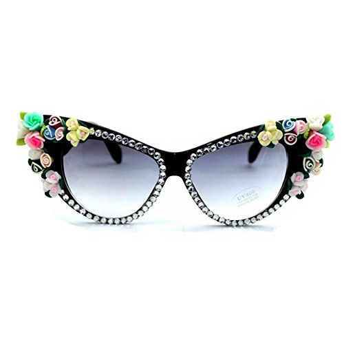 WIIPU Women's Rhinestone Mix Floral cat eye Sunglasses Eyewear(S306) (black, - Eye Sunglasses Floral Cat