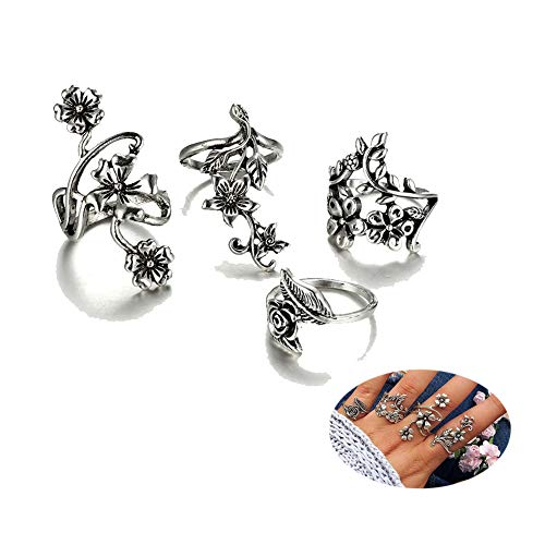 (Rose Flower Vine Rings Set Vintage Floral Blossom Leaf Finger Rings for Women Girls Statement Jewelry 4Pcs/Set )