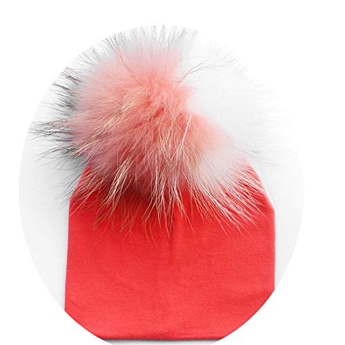 Hats Baby Cotton Hat Girl Boy 0-2Years Newborn Hat Kids Pom Pom Hat Black White Grey Pink Beanie Knit Spring ()