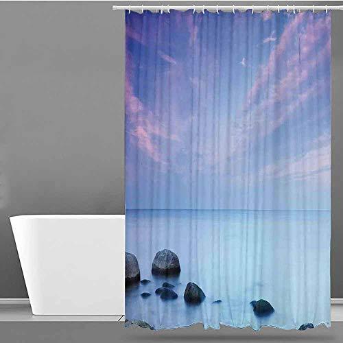 VIVIDX Large Shower Curtain,Seaside Decor,Baltic Sea Coast Autumn Sunset Evening View Boulders on Water Tourism Picture,Shower Curtains in Bath,W36x72L