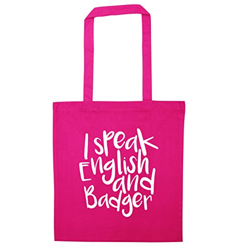 I English speak speak and badger Pink bag tote I tdqdpwFxEB