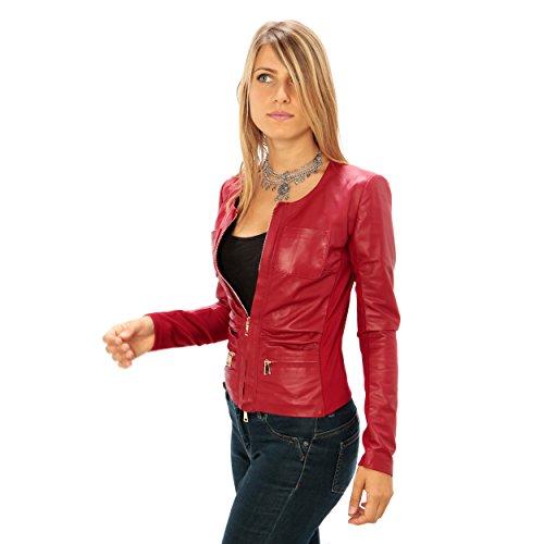 fit Donna Giubbino Made Vera Senza Pelle Rosso Italy Da Colletto In Slim Vestibilità f4x1z6