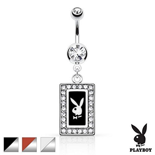 Official Licensed Playboy Clear Crystal Encrusted Square Frame with White Bunny Insert Belly Bar Piercing Thickness : 1.6mm Length :11mm ()