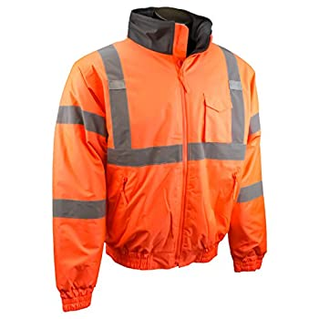 Radians SJ11Q-3ZOS-L Class3 Weather Proof Bomber Jacket with Quilted Built-In Liner, Hi-Viz Orange, Large