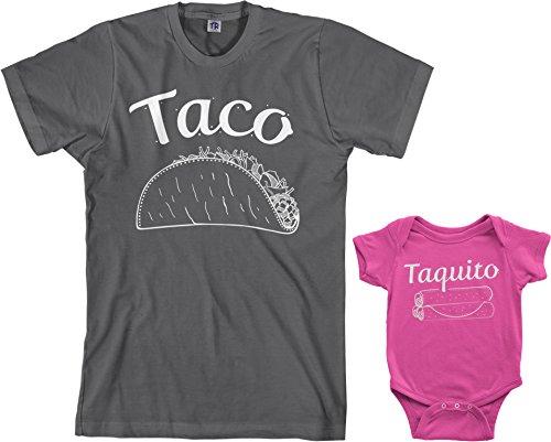 Sleeve Lap Neck Tee (Threadrock Taco & Taquito Infant Bodysuit & Men's T-Shirt Matching Set (Baby: 12M, Hot Pink|Men's: L, Charcoal))