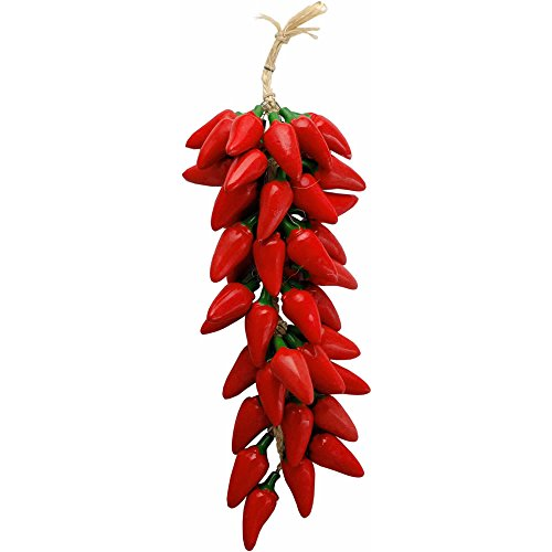 (Handmade Southwest Style Ceramic Chilies Ristras - Red Jalapeno Pepper String)