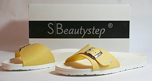Beautystep Damen Aktiv Fitness Sandale Gr. 38 Schlangen Optik Gelb