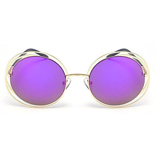 Redondo Aire Marco Viajar Retro metálico Gafas Peggy Sol de Protección Estilo Lente Gris Púrpura Conducción Color de Marco al Color UV Libre Gu qtxTY