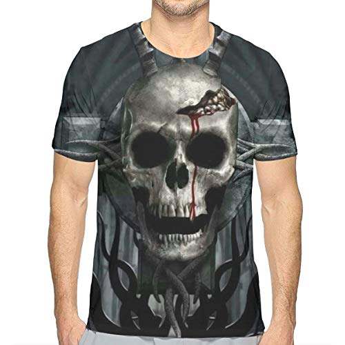 GJEHAGF Demon Possessed Men's 3D Printed T-Shirt with Round Neck and Short Sleeves for Summer -