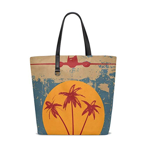 Grunge Tropical Palm Trees And Vintage Airplane Tote Bag Purse Handbag for Women -