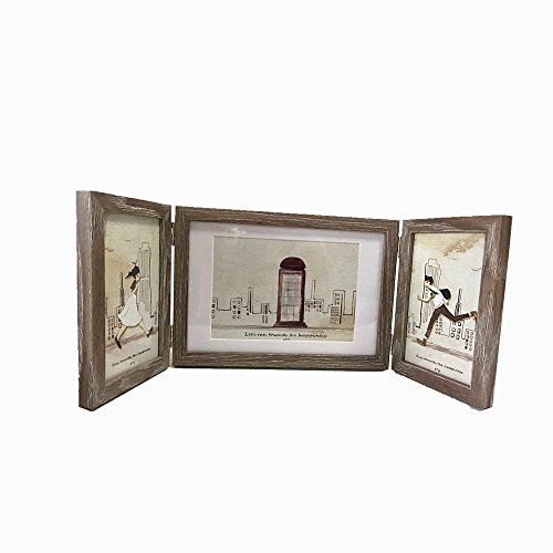 Leoyoubei Silver Hinged Folding Three Picture Frame Display 2 pcs 5x7 inch Vertical and 1 pcs 6x8 inch Horizontal Photo or Pictures for Desk Triple Opening Wedding Children's Photo Frame Home Decor